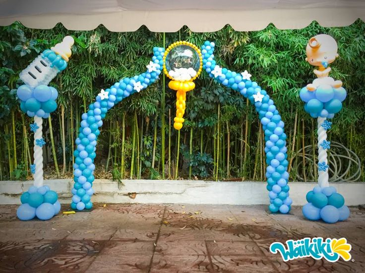 531 best images about baby shower balloon ideas on for Baby shower stage decoration