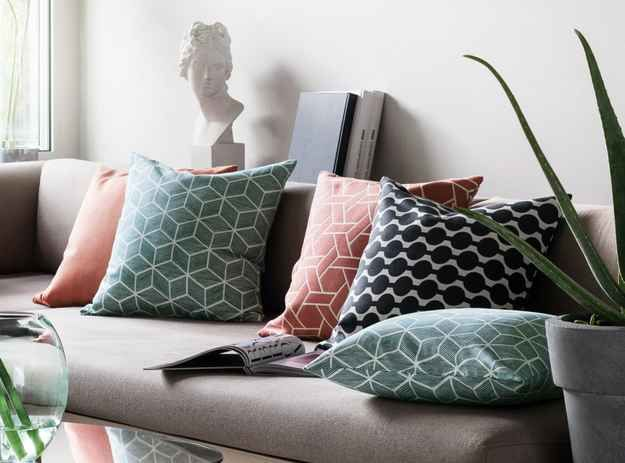And an array of geometric cushion covers.