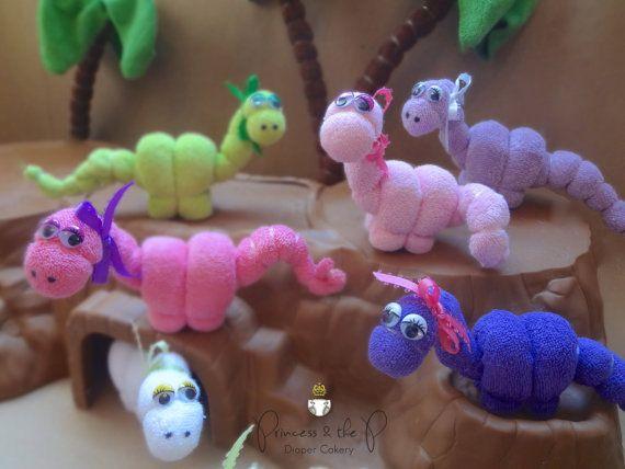 THE ORIGINAL Washcloth Dinosaur Diaper Cake by PrincessAndThePbaby