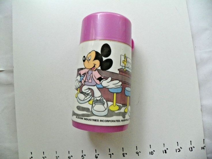 DISNEY MICKEY & MINNIE MOUSE AT THE SODA FOUNTAIN ALADDIN THERMOS PINK CUP #AladdinDisney