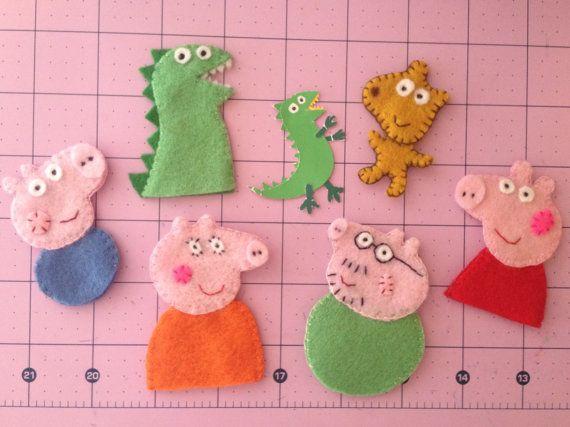 Whole Peppa Family set with Dinosaur & Teddy Bear - Peppa Pig inspired Handmade Felt Finger Puppets by CraftyMamiPig