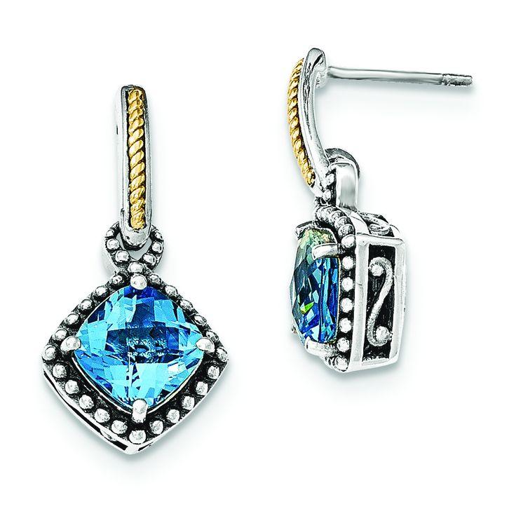 Sterling Silver w/14ky Lt Swiss Blue Topaz Post Dangle Earrings