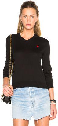 Shop Now - >  https://api.shopstyle.com/action/apiVisitRetailer?id=513986809&pid=uid6996-25233114-59 Comme Des Garcons PLAY Small Emblem V Neck Sweater  ...