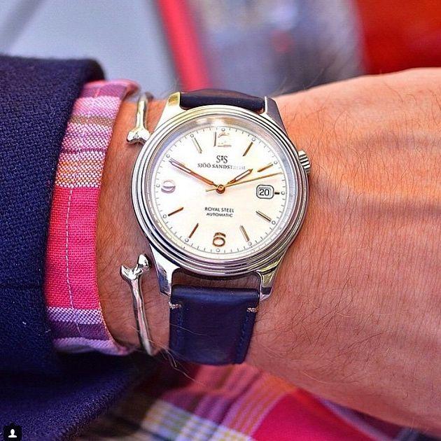 Royal Steel Classic ivory rose gold dial with blue calf. #sjöösandström #sjoosandstrom #watch #watches #sweden #classic