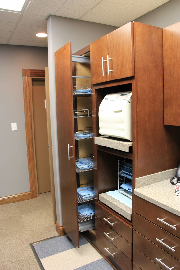 Stained Custom Cabinetry for the Sterilization Unit