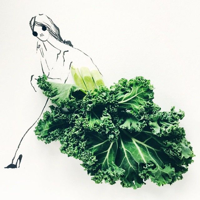 Kale, Striking Fashion Sketches That Strategically Incorporate Colorful Fruits and Vegetables