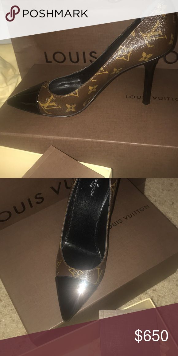 Louis Vuitton - Brown Monogram Pattern Pumps Never worn heels. Size 38. Still have original box, dust bag and authentic card. Shoes Heels