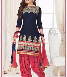 Buy Pink And Navy Blue cotton embroidered semi stitched salwar with dupatta party-wear-salwar-kameez online