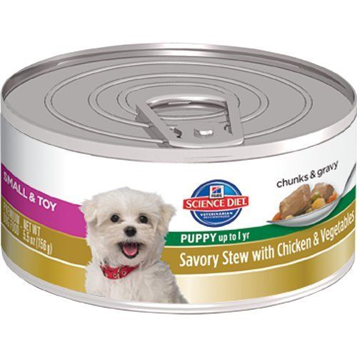 Hill's Science Diet Puppy Small & Toy Savory Stew Chicken & Vegetables Wet Dog Food, 5.5-Ounce Can, 24-Pack - http://www.thepuppy.org/hills-science-diet-puppy-small-toy-savory-stew-chicken-vegetables-wet-dog-food-5-5-ounce-can-24-pack/