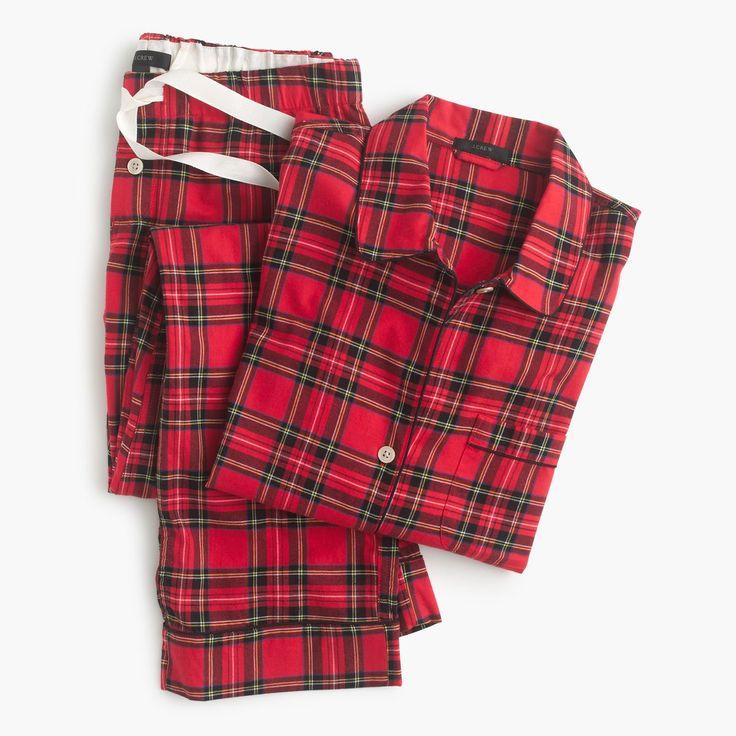 J.Crew Gift Guide: women's classic tartan flannel pajama set.