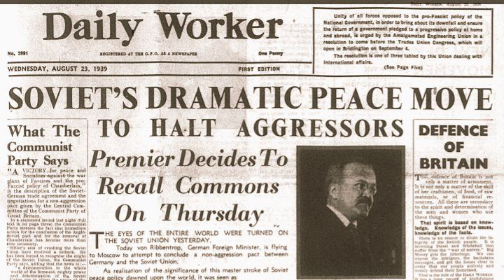 Daily Worker publishes this headline in reaction 2the Molotov - master settlement agreement