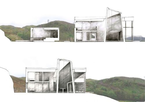 Drawing Architecture tumblr site - a collection of architectural drawings. Image shown: Philosopher's Retreat  Andrew McBride. Check this link for awesome drawing goodness and a big dose of ideas.