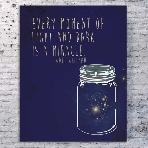 Walt Whitman Quote Art Print, Mason Jar Illustration Poster, Southern Quote, Southern Art, Mason Jar Print, Lightning Bugs 14 x 11
