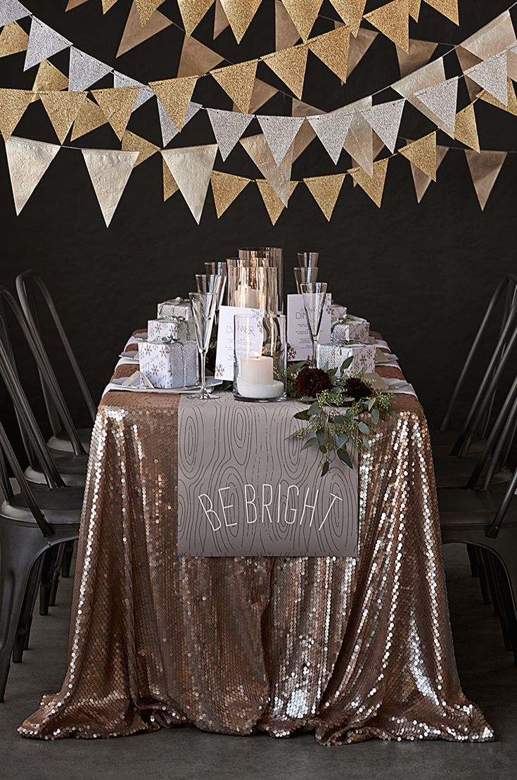 My holiday party decor design! Silver and Gold design by Jody Wody. 2013 Minted Holiday Catalog Party Cover Shot.