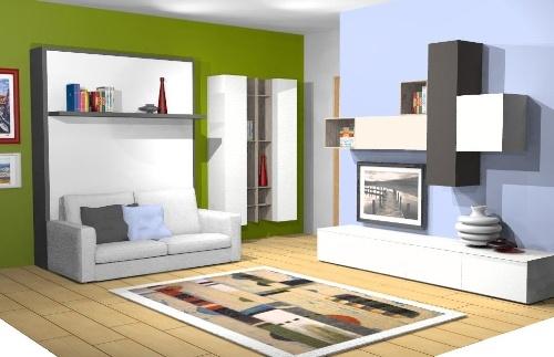 Progettazione monolocale. Il divano si abbassa e dal pannello si estrae comodamente un letto! Una casa trasformabile e comoda!