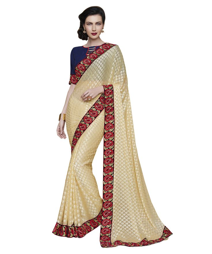 Buy Now Cream Fancy Embroidery Brasso Party Wear Saree With Dhupian Blouse only at Lalgulal.com Price :- 2,320/- inr. To Order :- http://goo.gl/C3MnU1. COD & Free Shipping Available only in India