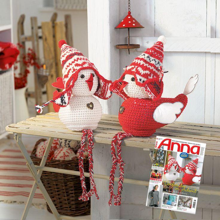 Modell 822/4, 2 Weihnachtsspatzen aus Landwolle von Junghans-Wolle « Schönes für Zuhause « Strickmodelle Junghans-Wolle « Stricken & Häkeln im Junghans-Wolle Creativ-Shop kaufen