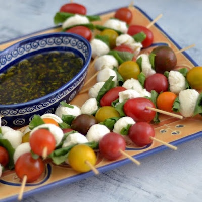 caprese kabobs- heirloom tomatoes, basil, fresh mozzarella: serve with olive oil and balsamic