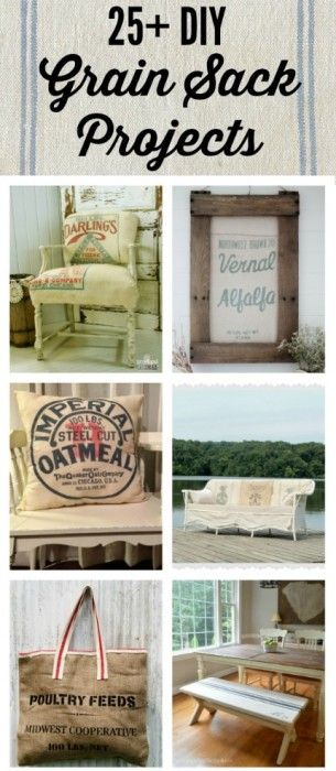 Grain Sacks, Feed Bags and Burlap Bags Projectsvia  Knick of Time at KnickofTime.net