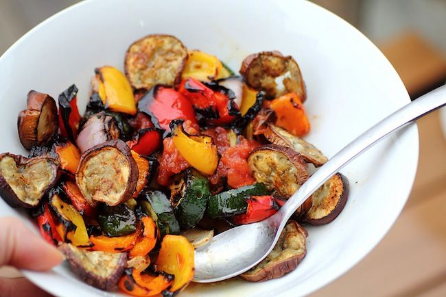 grilled vegetable salad and eggplant chips