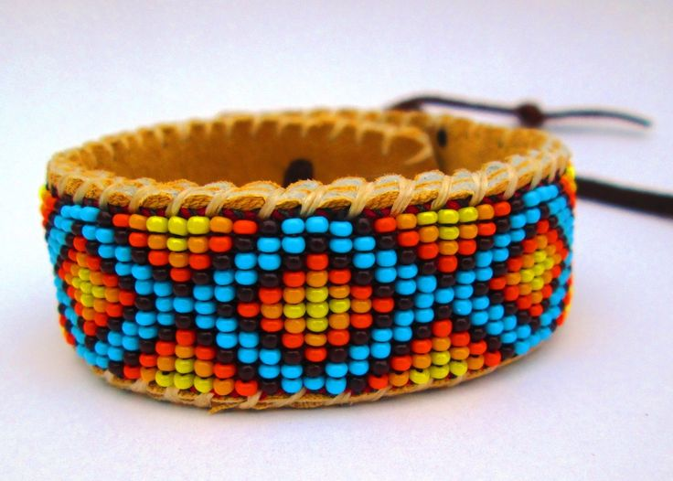Roads Intertwined, Beaded Bracelet on Deer Hide, by Pachamama Native Art, $44.00