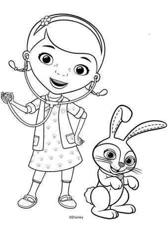 Doc McStuffins with Carrots Bunny Coloring page Doc
