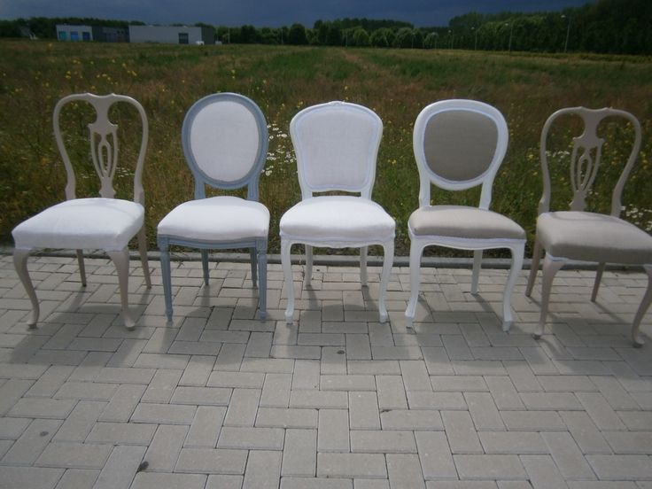 Vintage French dining chairs upholstered