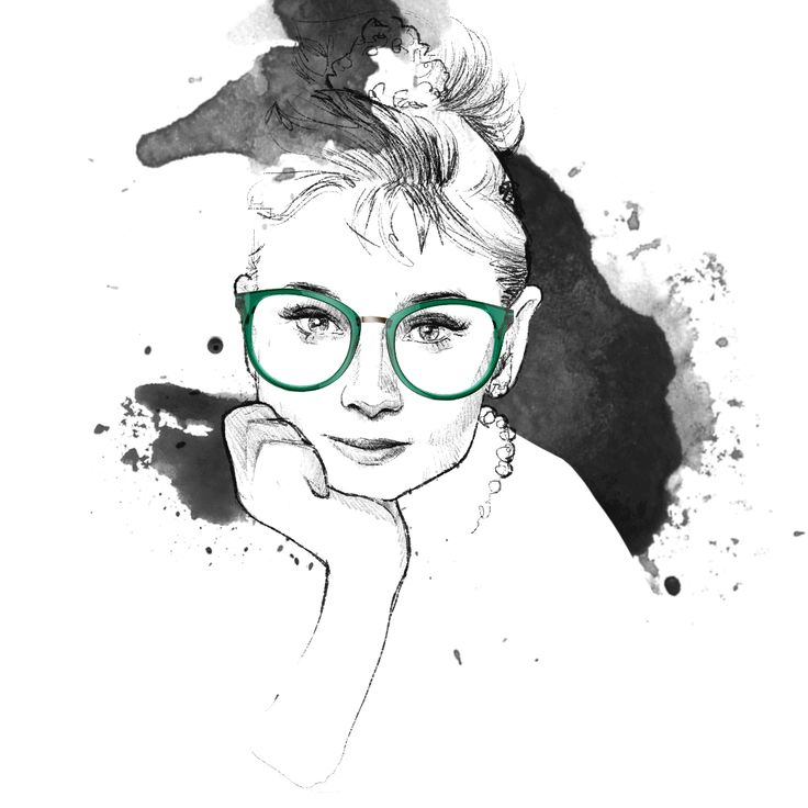 Fashion icon and beauty legend Audrey Hepburn wearing her neubau eyewear frames... © Berit Ransmayr