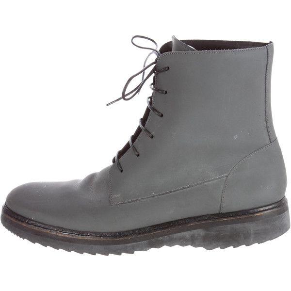 Pre-owned Marc Jacobs Coated Leather Combat Boots ($175) ❤ liked on Polyvore featuring men's fashion, men's shoes, men's boots, grey, mens gray boots, mens military boots, mens distressed combat boots, mens combat boots and mens grey shoes
