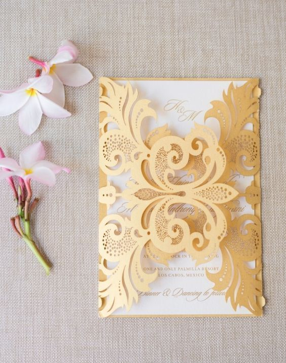 Featured Photographer: Sara Richardson Photography; Sophisticated gold and white wedding invitation