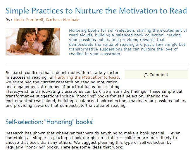 INSTRUCTION: Helpful and inspiring classroom tips for increasing motivation for literacy.