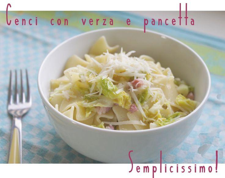 Cenci con #verza e #pancetta Mettete lo spicchio d'aglio a rosolare in padella, aggiungete la pancetta e sfumate con il vino. Aggiungete poi la verza, il peperoncino, il sale, il pepe. Togliete l'aglio. Aggiungete la quantità di peperoncino che vi piace. Cuocete i cenci in acqua bollente salata, scolate e condite con il sugo preparato. Completate, se gradita, con una spolverizzata di #grana grattugiato. http://bit.ly/1xSQjF5 #pasta #madeinitaly#Toscana#madeintuscany