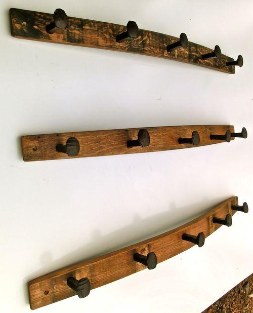 Coat Rack - railroad spikes - wine and whiskey white oak barrel