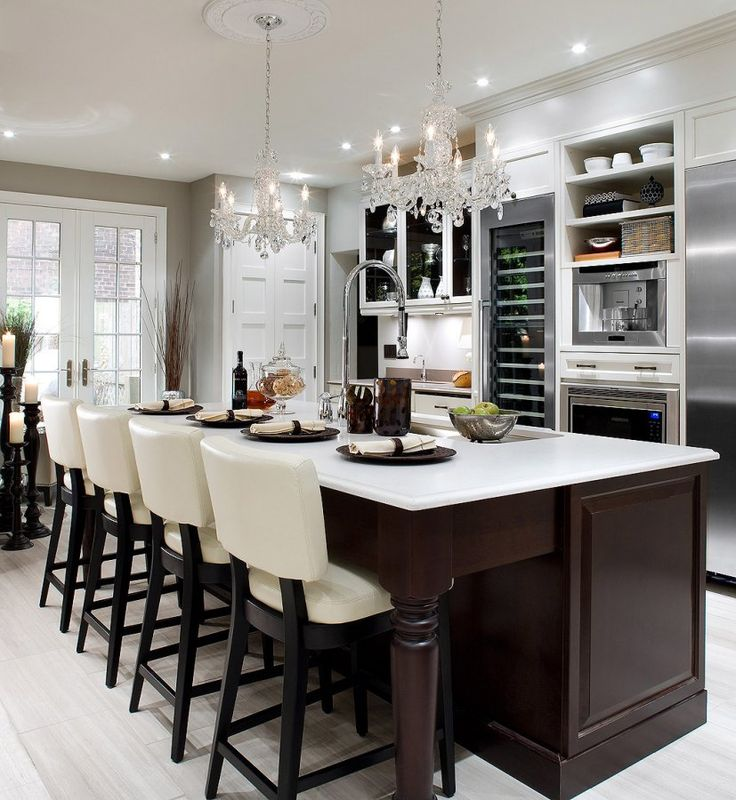 gorgeous kitchen. love the chandeliers. wouldn't need an espresso machine though! #candiceolson #kitchen #hgtv