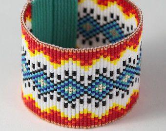 Bluebird of Happiness Bead Loom Bracelet Bohemian by PuebloAndCo