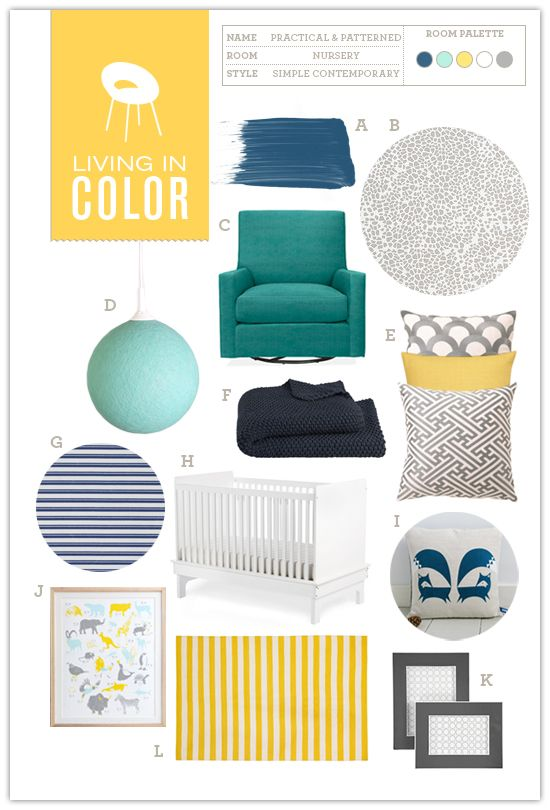 Nursery #06: Practical and Patterned | Hellobee Blog with over 20 nursery boards
