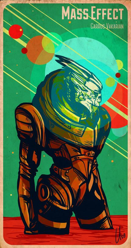"Source: vintage-is-for-grannies ""May you be in heaven half an hour before the devil knows you're dead.""  - Garrus Vakarian  Mass Effect in combination with retro NASA poster aesthetics, might be one of my new favorite things to draw ^^"