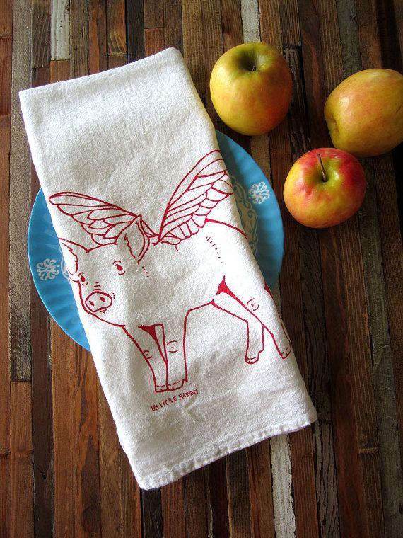 Tea Towel   Screen Printed Flour Sack Towel   Eco Friendly Dish Towel    When Pigs Fly   Classic Flour Sack Towel   Natural Cotton   Soft By  Ohlittlerabbit ...