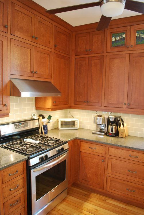 Shaker quartersawn oak 1908 foursquare kitchen remodel for Complete kitchen cupboards
