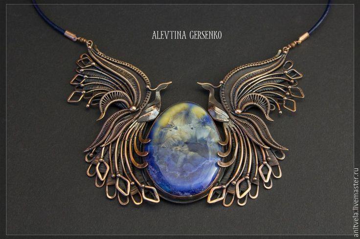 """Купить """"Синие птицы"""" - медь, фарфор, авторский фарфор, крылья, птица, синяя птица"""