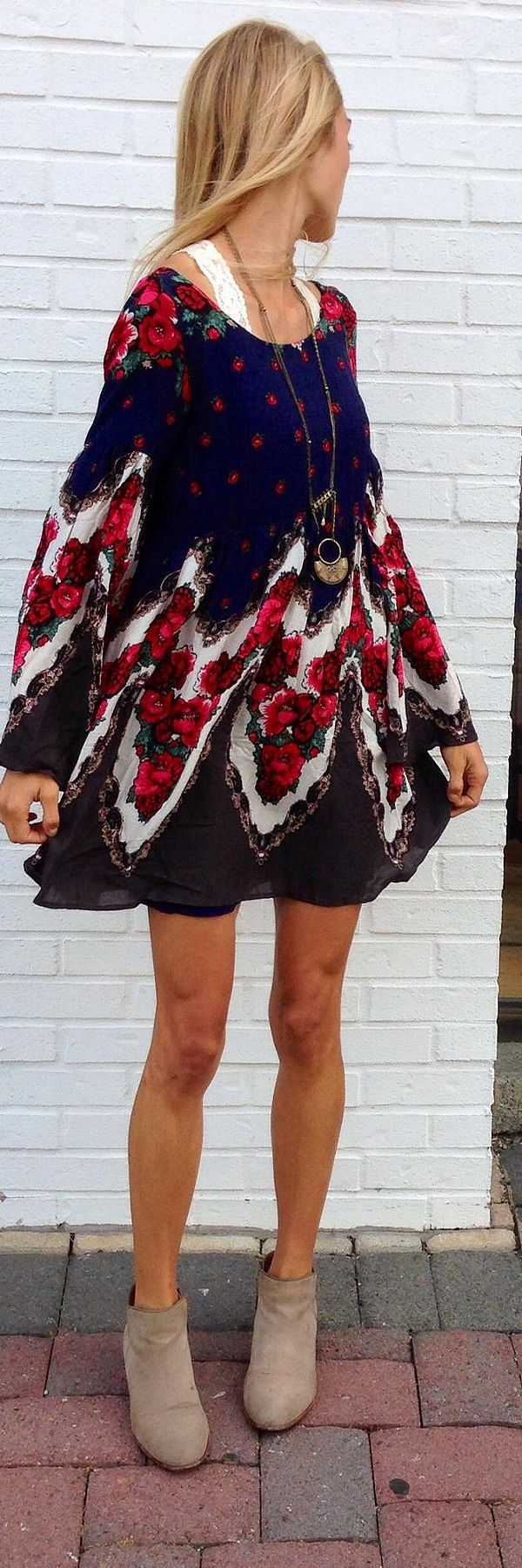 Spring dress + ankle boot.