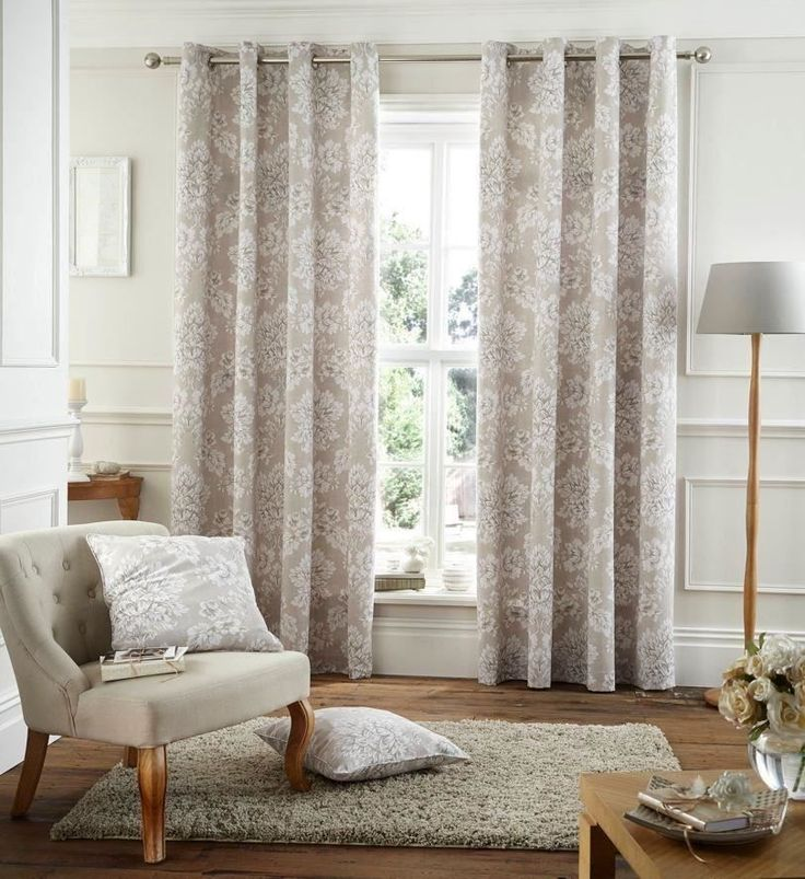 CREAM BEIGE FLORAL 66X72 168X183CM COTTON BLEND LINED RING TOP CURTAINS DRAPES In Home