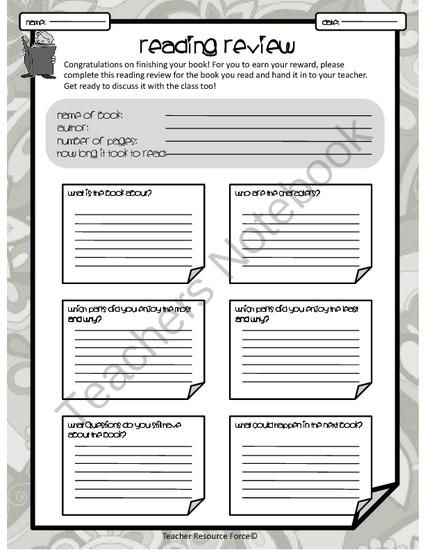 Best Book Review Template Images On   Teaching Ideas