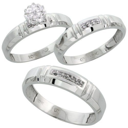 10k White Gold Diamond Trio Engagement Wedding Ring Set for Him and Her 3-piece 4.5 mm & 4 mm wide 0.10 cttw Brilliant Cut, ladies sizes 5 - 10, mens sizes 8 - 14 Gabriella Gold. $513.79
