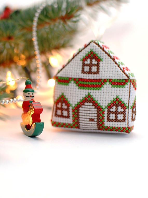 Christmas ornaments cross stitch pattern 3D Cross Stitch - Cross Stitch Pattern Christmas House Ornament , 3D Cross Stitch