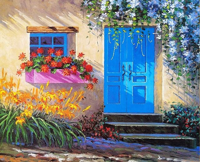 Pintura de flores al leo con esp tula mikki senkarik - Pintura decorativa para paredes ...