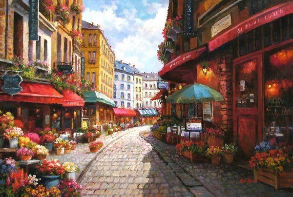 """""""Cobblestone Street of Flowers"""" Original Oil by Paul Guy Gantner"""