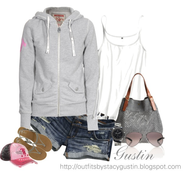 hoodie and shorts, perfect for cool summer evenings