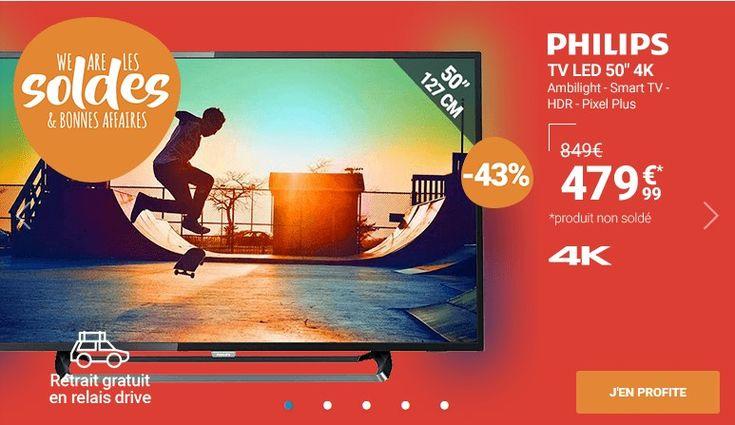 Soldes Téléviseur Rue du Commerce , achat PHILIPS TV LED 127 cm 50PUS6262 Noir pas cher prix Soldes Rue du Commerce 479.99 € TTC au lieu de 849 €