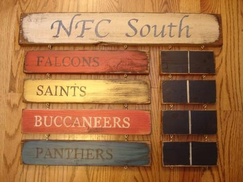 NFC South Standings board Falcons Saints Buccaneers Panthers sign | MyRusticBoardSigns - Woodworking on ArtFire